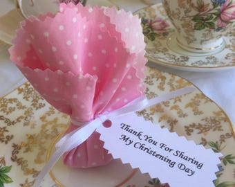 Set of 10 x Christening/Baptism fabric seed favours