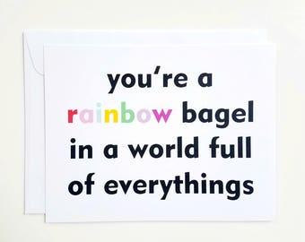 Rainbow Bagel Card