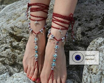 SALES -25% Barefoot shoes, feet Jewelry, barefoot sandal,Hippie Sandals, Foot Jewelry, Toe Thong, BOHO,BAREFOOT, sandals, colorful, Summer,f
