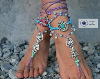 ON SALE 25%off barefoot sandals, beach sandals, foot jewelry ,beach wedding Barefoot sandals, boho shoes gypsy Barefoot Hippie, Foot Jewelry