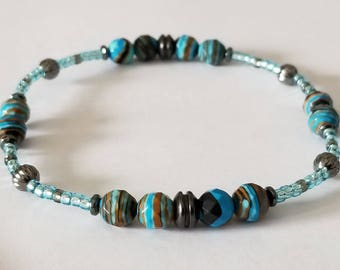 Anklets for Women Womens Anklets Beach Anklets Boho Stretch Summer Seed Bead Ankle Bracelet RAINBOW Casilica  Faceted Beaded Blue Black Grey