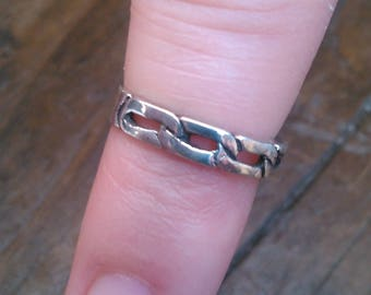 Sterling Siver Chain Link Pinky Ring