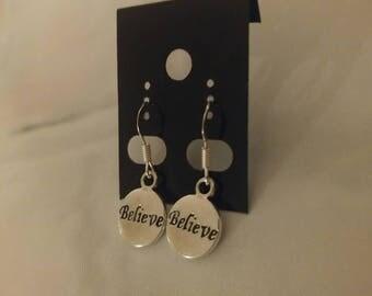 Believe Earrings, Inspirational Earrings, Faith Earrings, Cure Earrings, Religious Earrings, Silver Believe Earrings