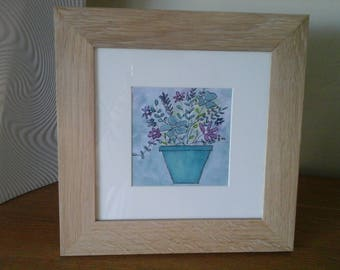 Small painted watercolor and its frame