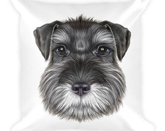 Schnauzer dog illustration on a square pillow
