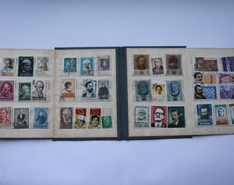 Soviet Postage Stamp Collecting Album, Vintage Soviet Stamp Book, Small Stamp Collection Holder, Philately Book, Stamp display,