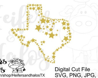 Stars over Texas svg cut file for cricut and cameo silhouette.  Use for t-shirts, decals, or yeti cups.
