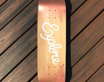 Wall Art EXPLORE Hand Lettered Skate Deck