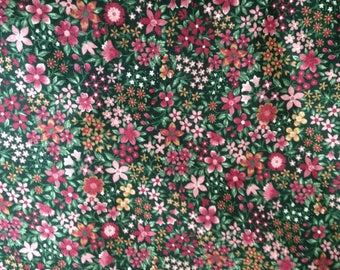 Flowered calico with dark green background, 2 8/9 yards, 44 inches wide