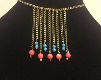 Coral and Turquoise Fringe Necklace