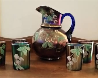 Northwood Glass Cherries & Little Flowers Water Pitcher Set