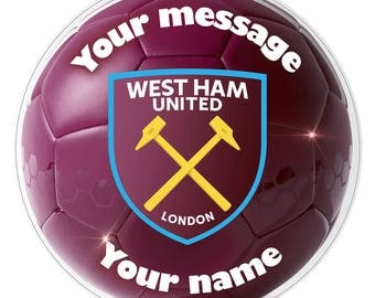 "WEST HAM UNITED Inspired  Personalised Party Cake Topper Edible print on icing 7.0"" 18 cm"