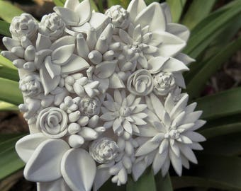 """White Succulent Tile """"Overflow of leaves"""""""