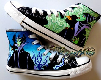 Maleficent villains custom canvas shoes handpainted personalized