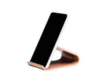 Universal smartphone stand, Wood paper clip holder for desk, Wood scotch tape dispenser, Wood pen holder, Business card stand