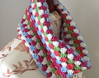 Crochet neck warmer cowl scarf in soft cotton yarn