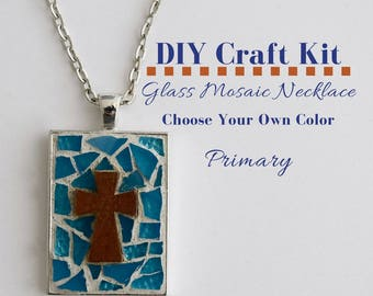 Cross Jewelry Kit, Mosaic Glass Jewelry Youth Group Activity, Choose Your Own Colors, includes wooden cross, Silver Rectangle Bezel