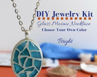Complete Jewelry Kit, Glass Mosaic Necklace Craft Activity, Silver Oval Pendant, Choose Your Glass Color, Gift under 15, DIY Necklace Kit