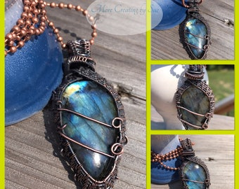 Gorgeous blue flash labradorite pendant