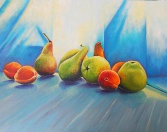 Still life painting Still life art wall art Fruit painting Oil painting Fruit still life Kitchen decor Kitchen wall art Painting for kitchen