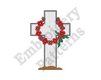 Wreath Gravestone - Machine Embroidery Design