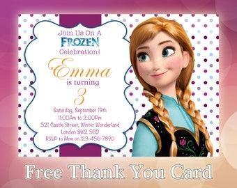 Frozen Birthday Invitation / Anna Frozen Invitation Printable / Disney Frozen Invitation / Disney Frozen Invites / Princess Anna  / FZ07