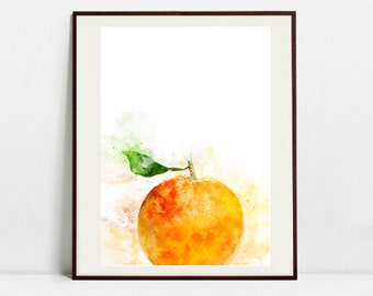 Orange Watercolor Art Print, Orange Illustration, Kitchen Wall art, Kitchen Wall Decor, Fruit Print