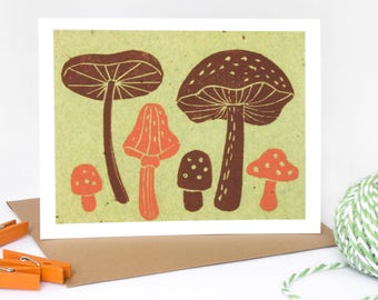 Note Card Set - 6 Blank cards - Note Cards - Handmade Cards - Stationery - Linocut - Pack of cards - Novelty Cards - Woodland - Mushrooms
