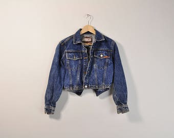 Cropped Denim Jacket, Cropped Jean Jacket, Vintage Crop Jacket, Vtg Denim Jacket, Vtg Jean Jacket, Womens 90s Denim Jacket Small
