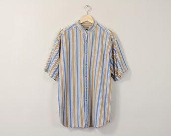 90s Striped Shirt, Vintage 90s Mens Shirt, Short Sleeve Oxford, 90s Button Up Shirt, 90s Striped Oxford, Mandarin Collar Oxford