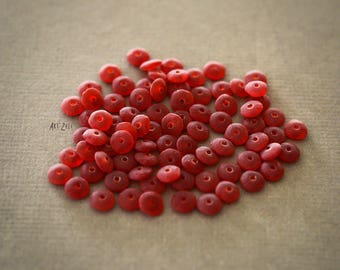 2x5mm, 50 small handcrafted indian glass beads, spacers, rondels, frosted glass, red, matt