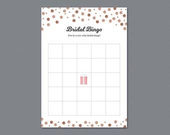 Bridal Shower Bingo Cards, Empty Bingo Printable, Rose Gold, Glitter, Sparkle, Wedding Shower Games, Instant Download, Bachelorette, A008