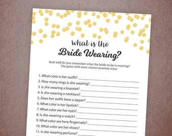 What is the Bride Wearing Game Printable, Gold Confetti Bridal Shower Game, What the Bride is Wearing, Bachelorette, Wedding Shower, A001