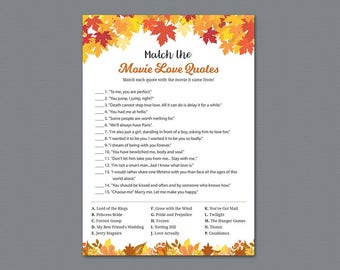 Movie Love Quote Match Game, Fall Tree Leaves Match the Romantic Movies Trivia, Movie Love Quote Match, Fall Autumn Bridal Shower, A021
