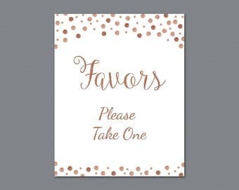 Favors Please Take One Sign Printable, Rose Gold Confetti Thank You Sign, Bridal Shower Sign, Wedding Favor Sign, Party Decorations, A009