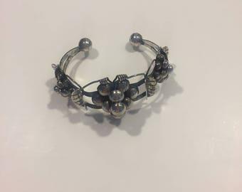 Vintage Taxco Sterling Silver Grape Cuff Bracelet
