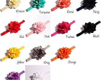 13colors Newborn DIY Elastic Kids Headbands With Fabric Flowers Artificial Girls Hair Accessories With Lotus Flowers