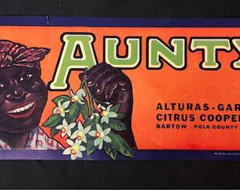 1930s Aunty Brand Crate Label- Original