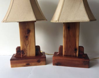 Rustic Wood Cedar Lamp Set