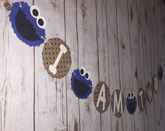 Cookie Monster Second Birthday - I am two - Banner