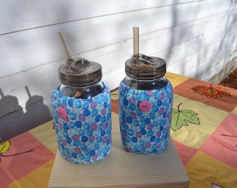 Mason Jar Cozies Quart Jar Insulated (set of two) Blue floral tulip