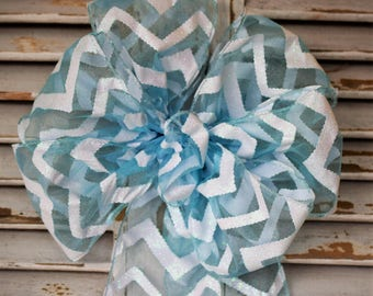Blue Chevron Stripe Bow, Easter Bow, Spring Bow, Blue and White Bow, Wreath Bow, Decorative Bow, Basket Bow, Gift Bow, Shower Bow