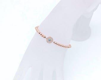 Evil Eye Bracelet, Evil Eye, Evil Eye jewelry, evil eye charm bracelet, evil eye beaded bracelet, rose gold bracelet, protection bracelet