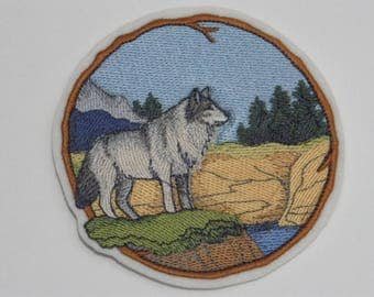 Animal Iron-On Patch. Embroidered Patch. Sew-on Patch. Glue-on Patch. Camping Lovers Patch. Walk in Woods Wolf Patch