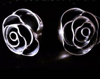 Vintage Sterling Silver 3-Dimensional Roses in Bloom Post Earrings