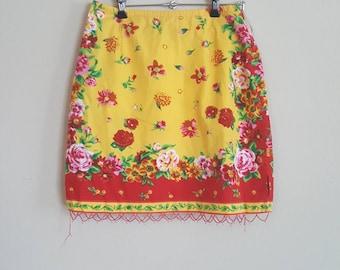Yellow Bright Flower Print Skirt
