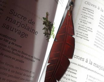 leaf leather feather bookmark