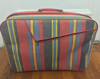 Striped Bantam Overnight / Carry-on Soft Suitcase - Good Condition