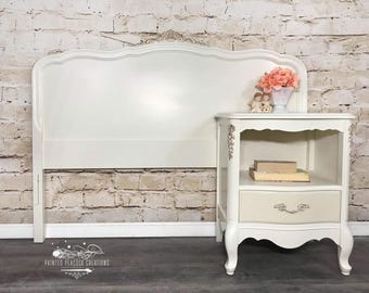 Vintage Restyled Bassett French Provincial Headboard With Matching  Nightstand/Bedside Table