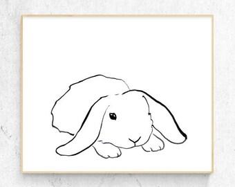 Original Rabbit Minimalist Watercolour Fine Art Print, Woodlands Nursery, Wall Decor, Baby Animal Print, Printable Bunny, Digital Download